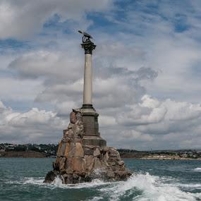 In memory of sunk battleships by Владимир Агруц - Buildings & Architecture Statues & Monuments ( black sea, bay, sea, monument, sevastopol )