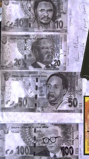 Nkanyiso Madondo's depiction of what he thinks the South African banknotes should look like.