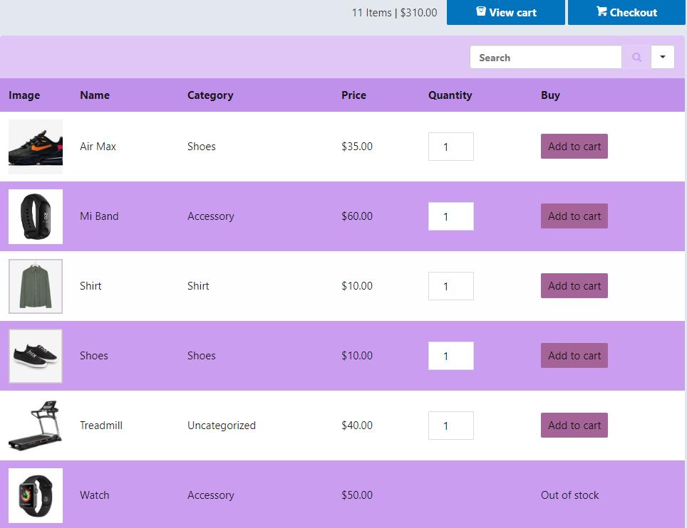 Designing WooCommerce product table plugin