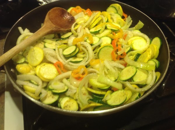 Add oil and butter to large skillet, I used a 16 inch skillet. Heat...