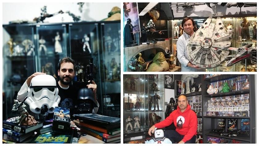 Alfredo Sánchez-Gimeno (foto vertical), Raúl Rabaneda (arriba) y Víctor Miralles, con sus colecciones.