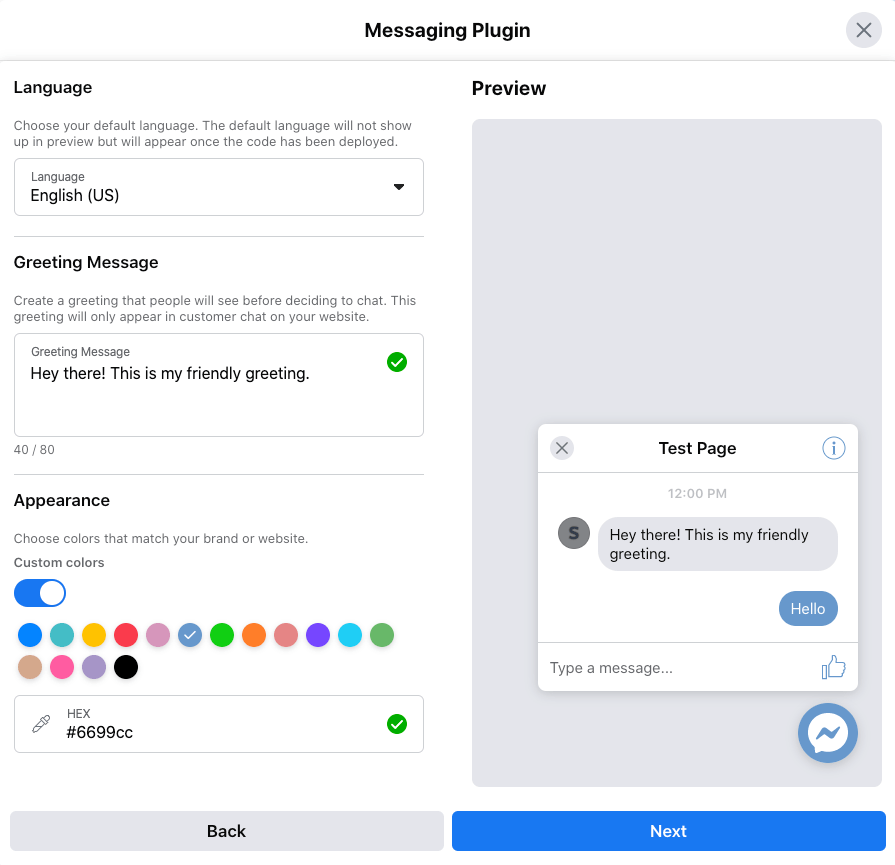 Settings to customize Facebook Messenger.