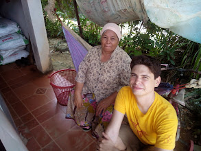 Photo: Anda's Grandmother and I. She cooked us a wonderful spread of fresh crab the night before