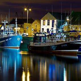 Boats by Vaidotas Maneikis - City,  Street & Park  Neighborhoods ( night shots, ireland, dublin, boats, sea, ships, night, Urban, City, Lifestyle,  )
