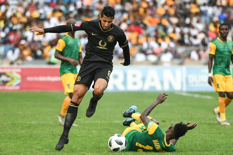 Leonardo Castro of Kaizer Chiefs and Ntsako Makhubela of Golden Arrows during the Absa Premiership match between Golden Arrows and Kaizer Chiefs at Moses Mabhida Stadium on January 25, 2020 in Durban, South Africa.