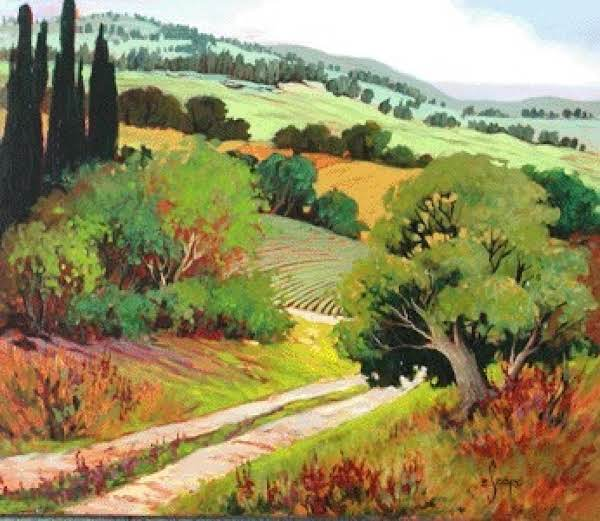 Found This Lovely Painting Of Tuscany On Evaszorc.com. She Has Some Lovely Paintings On Her Site.