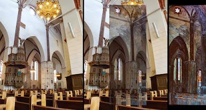 """Photo: N.Rericho paveikslas """"Ryga. Katedralinio Soboro interjeras"""", nutapytas 1903m. : dailių arkų prietemoje lango ertmėje pražysta šešialapė rožė.  Kairėje nuotrauka padaryta 2013 rugpjūčio 21d. Dešinėje N.Rericho tapytas etiudas."""