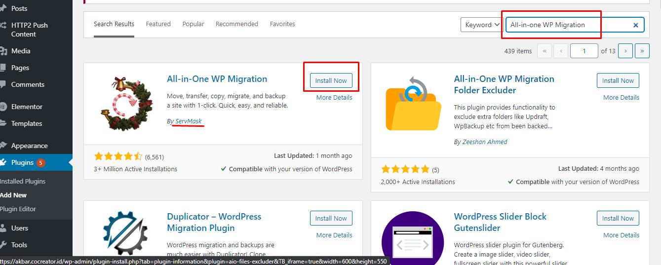 image 1 - Cara Migrasi WordPress dengan Plugin All in One WP Migration