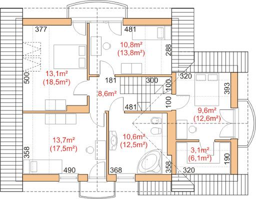 Dom przy Cyprysowej 17 - Rzut poddasza