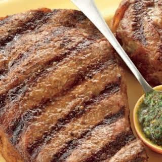 Rib Eye Steaks with Tomato-Chimichurri Sauce.