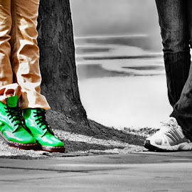 Stand out from the crowd by Sue Bernhard - Smith - People Street & Candids ( footwear, feet, boots,  )