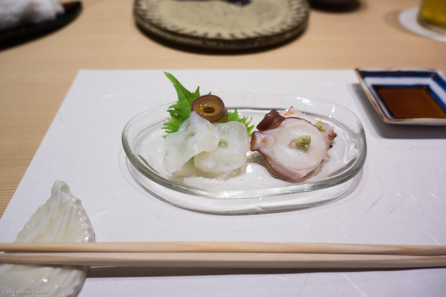 柳蛸のお刺身刺、柔らか煮、吸盤