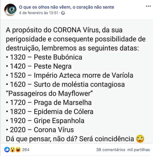 Publicação do twitter com uma lista de pandemias.