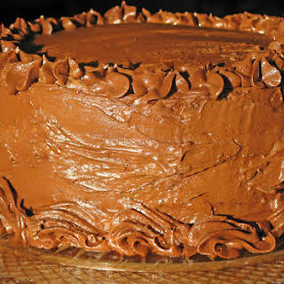 """Hershey's """"Perfectly Chocolate"""" Chocolate Cake with Mousse Filling and Chocolate Frosting."""