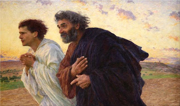 Photo: Title: The Disciples Peter and John Running to the Sepulchre on the Morning of the Resurrection Artist: Eugène Burnand Medium: Oil on canvas Size: 82 x 134 cm Date: 1898 Location: Musée d'Orsay, Paris http://iconsandimagery.blogspot.com/2009/07/disciples-peter-and-john.html