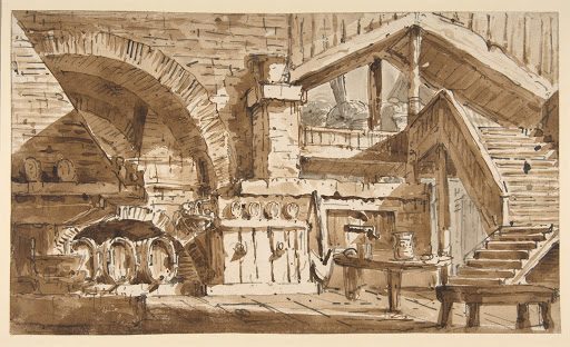"Design for a Stage Set Showing Interior of Rustic Kitchen (""Cucina Rustica"")"