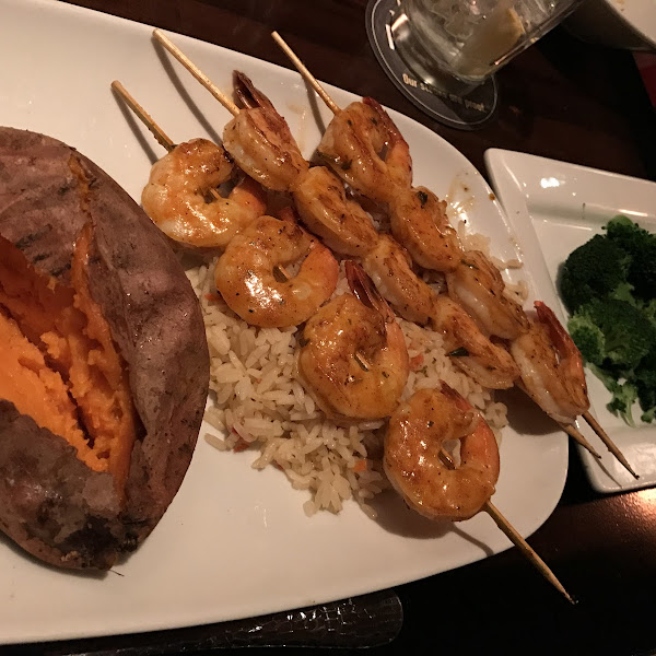 Redrock Grilled Shrimp, Baked (plain) Sweet Potato, Seasoned Rice Pilaf, Fresh Steamed Broccoli
