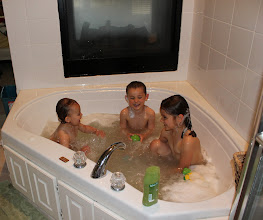 Photo: The kids love mommy and daddy's bathtub.