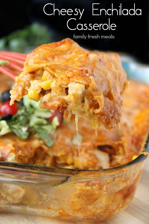 Click Here for Recipe: Cheesy Chicken Enchilada Casserole