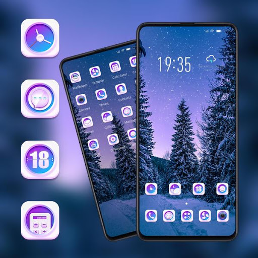 Night forest starry sky landscape theme | snow ss3