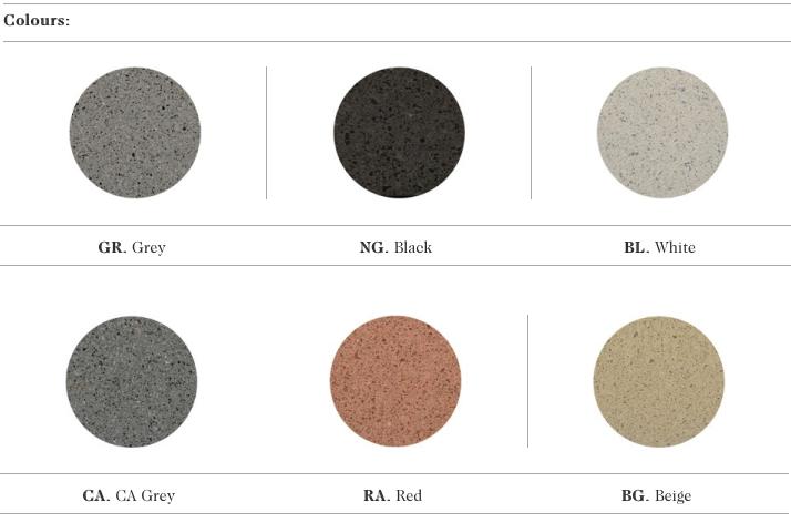 De mogelijke kleuren voor de Sit zitbanken uit de collectie van Escofet 1886