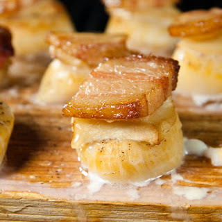 Planked Scallops with Ginger and Bacon