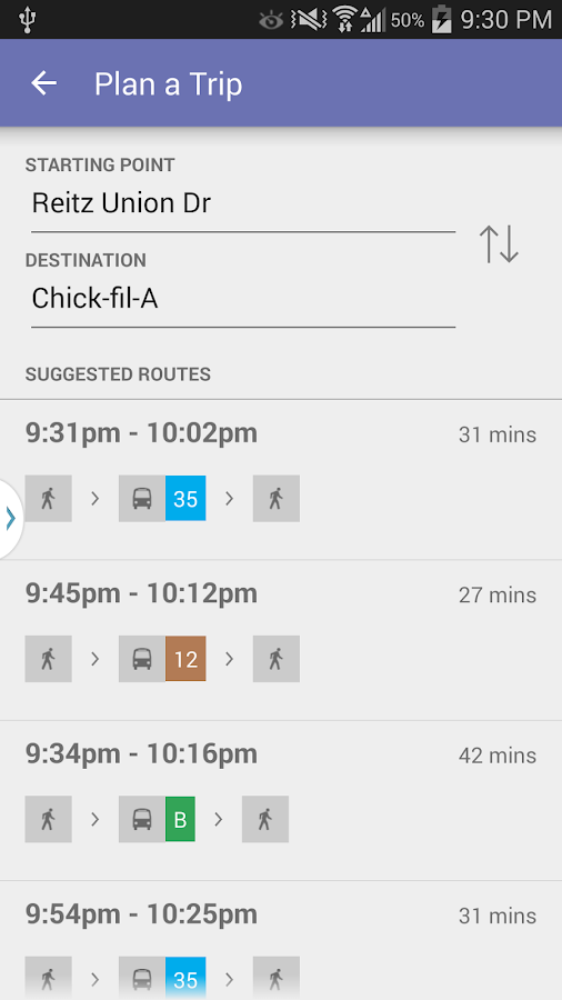Gainesville Bus Tracker- screenshot