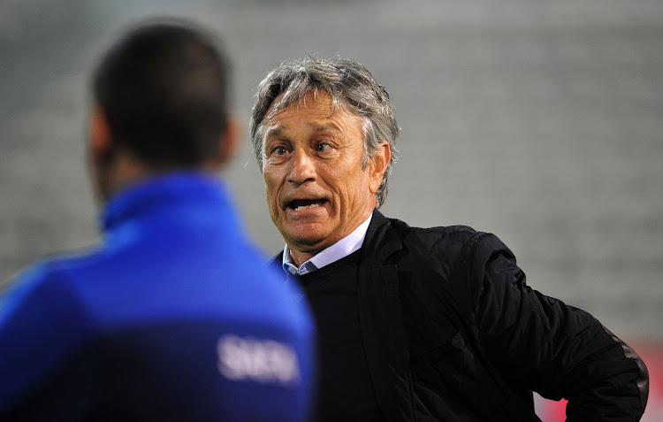 Ajax Cape Town head coach Muhsin Ertugral looks relieved after the Absa Premiership against Bidvest Wits at Athlone Stadium, Cape Town on 11 April 2018.