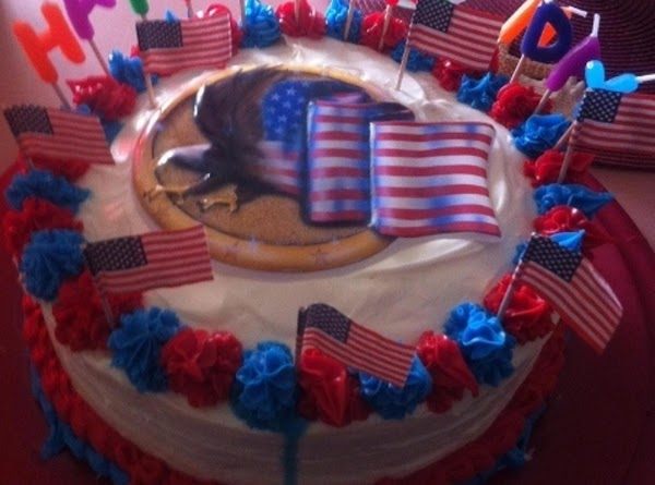 Decorate cake to your liking (I did patriotic theme since my dad is a...