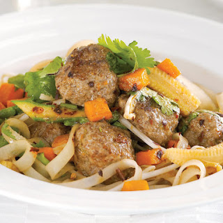 Five Spice Meatballs with Rice Noodles.