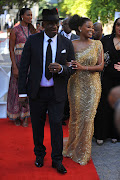 Police minister Bheki Cele with his wife, Thembeka Ngcobo, on the Sona 2020 red carpet.