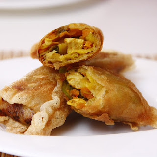 Savory Chicken and Curried Vegetable Pastry.