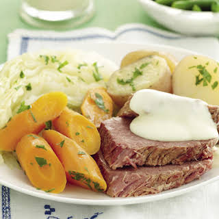 Pressure Cooker Corned Beef with Mustard Sauce.