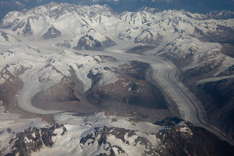 Photo: On the flight back to Vancouver, some cool views of the icefields below.
