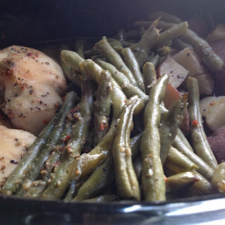 Italian Chicken with Red Potatoes & Green Beans- Crockpot.