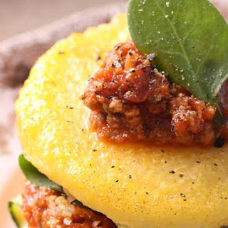 Stacked Polenta with Bolognese Sauce.
