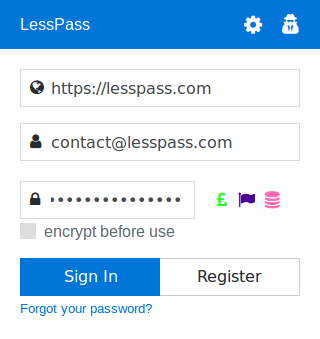 LessPass- screenshot
