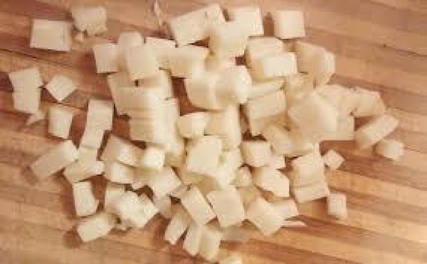 Chop the mozzarella into small cubes and add to the salad. (it's easier to...