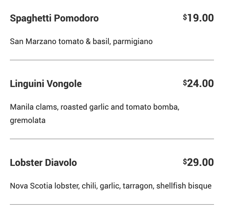 An image of the menu at Little Anthony's Italian Restaurant in Toronto