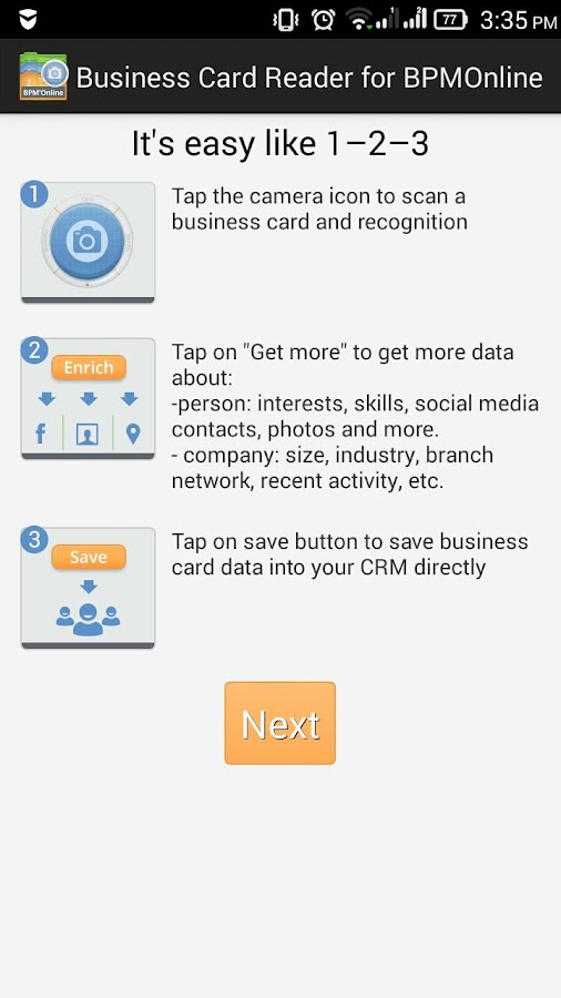 Business Card Reader Free for Bpm'online CRM- screenshot