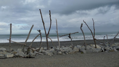 Photo: The name of the town was spelled out in pieces of driftwood lashed together with the flax plant fibers.