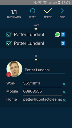 Contact Clean App