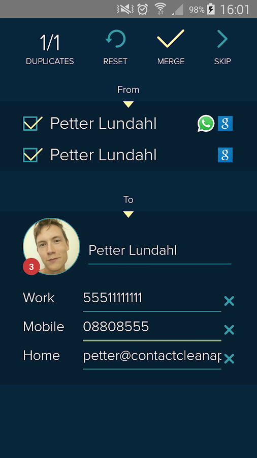 Contact Clean App- screenshot