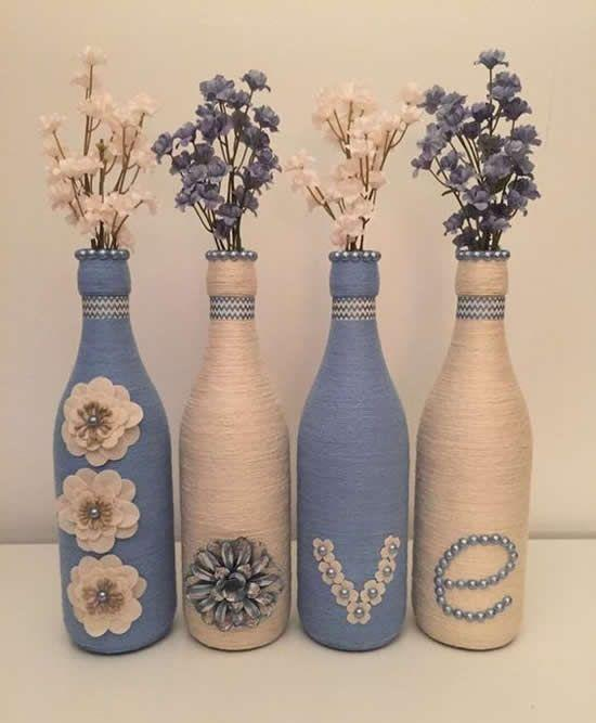 garrafa de vidro flores