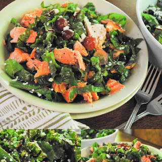 Salmon and Red Chard Salad with Lemon Basil Vinaigrette and Goat Cheese Recipe