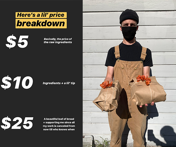 Price breakdown of how much Cody Howell earns from going door-to-door and dropping off his bread