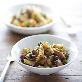 Campanelle with Spicy Eggplant, Olives and Capers.