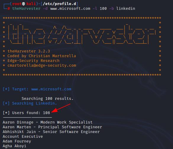 theHarvester example Microsoft. Source: nudesystems.com