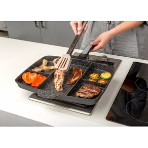 Tigaie grill cu invelis antiaderent non stick, 5 compartimente