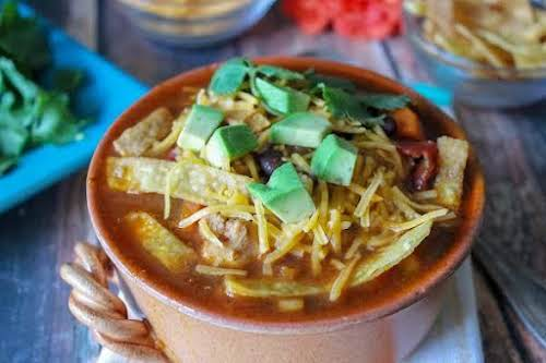 "Spicy Chicken Tortilla Soup ""This hearty soup will tickle your taste buds..."